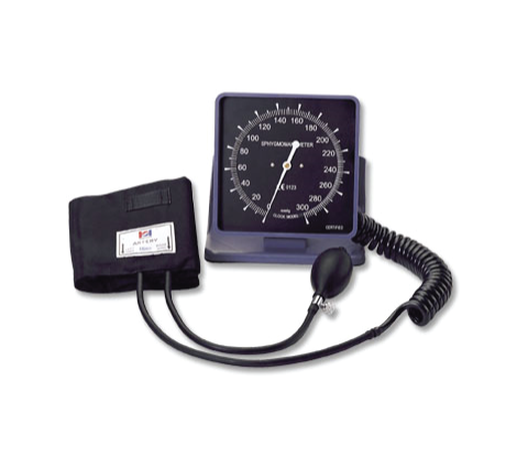 DELUXE ANEROID WALLDESK BLOOD PRESSURE METER WITH SQUARE FACE