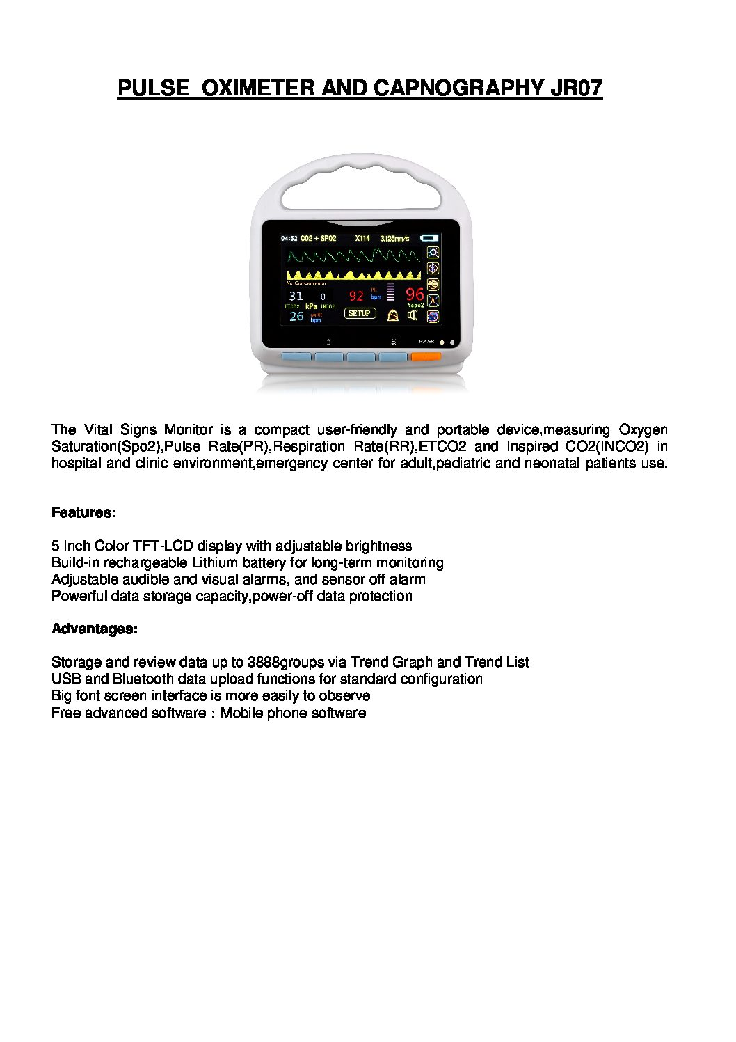 PULSE OXIMETER AND CAPNOGRAPHY JR07