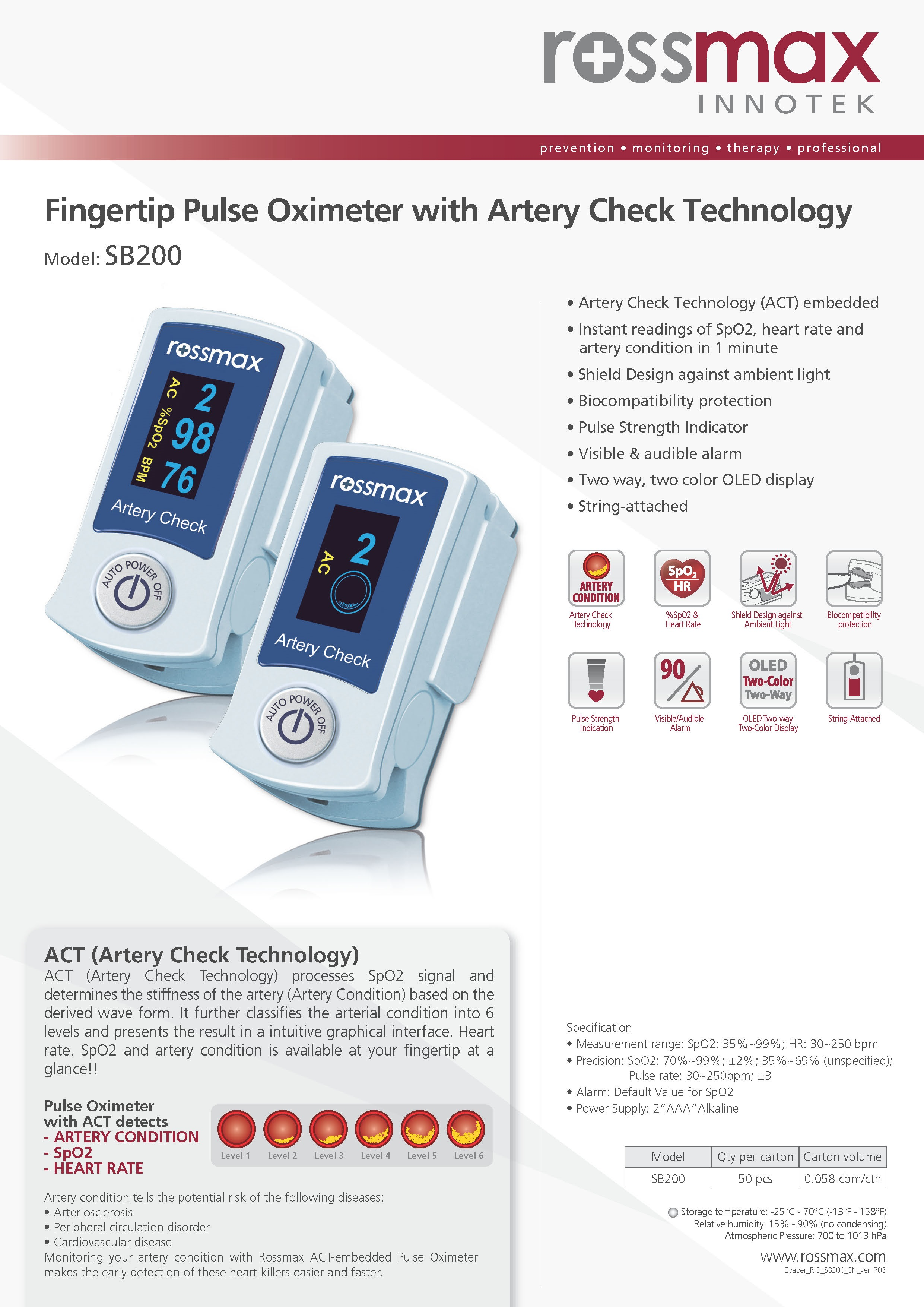 Oximeters Pulse Oximeter Sb200 Artery Check Technology For Sale In Spo2 Heart Rate